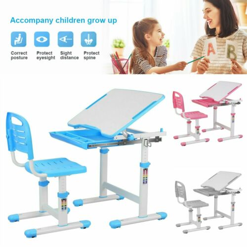 Kids Desk and Chair Set Height Adjustable Children Study Drawing Play Table