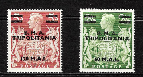 B.M.A.Tripolitania.... 2/6d & 5/-  Overprinted G.B. stamps..Mint condition..6850