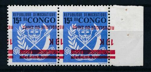 [33629] Zaire Good pair inverted overprint Very Fine MNH stamps