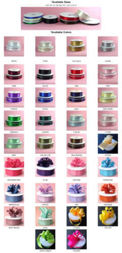 DOUBLE FACED SATIN Ribbon, 50-100yards/Roll, 8 sizes, 34 colors, 100% polyester