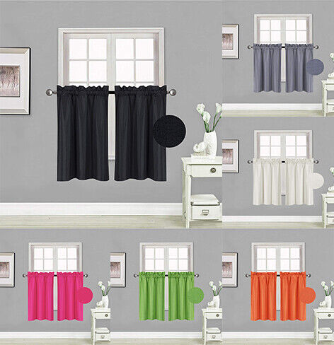 """2PC LINED BLACKOUT PANELS KITCHEN SMALL WINDOW CURTAIN TIER 24"""" OR 36"""" LENGTH"""