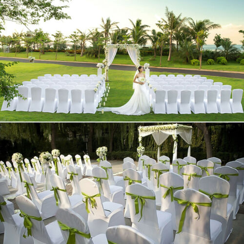 100pcs White Wedding Chair Cover Universal Stretch Polyester Spandex Chair Cover