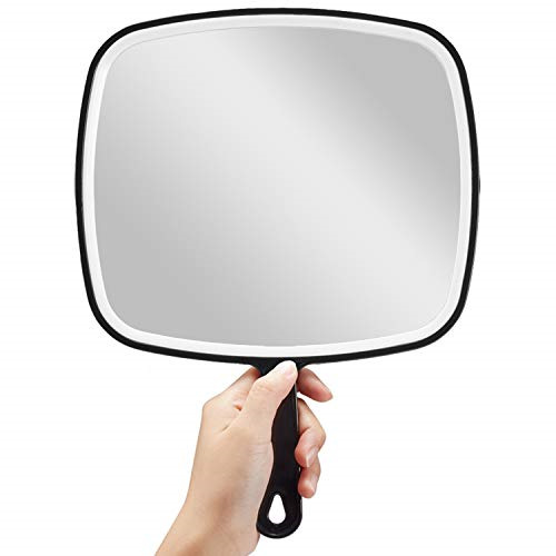 """OMIRO Hand Mirror, Extra Large Black Handheld Mirror with Handle, 9"""" W x 12.4"""" L"""