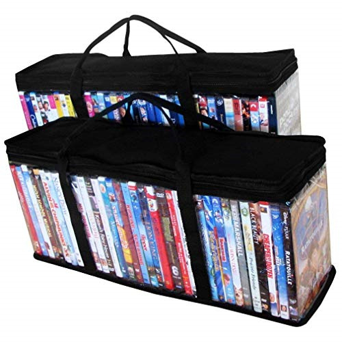 DVD Storage Organizer - Classic Set Of 2 Storage Bags With Room For 40 DVDs Each