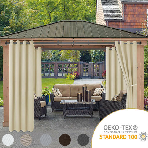 Waterproof Outdoor Curtains for Patio - Thermal Insulated, Sun Blocking 2 panels