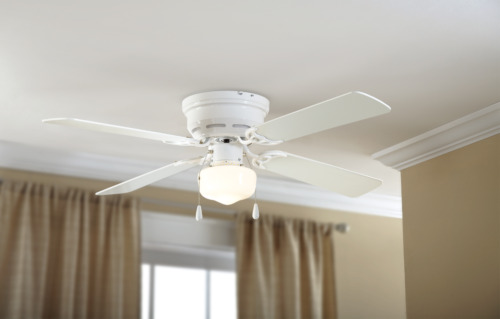 """Mainstays 42"""" Hugger Metal Indoor Ceiling Fan with Single Light, White"""