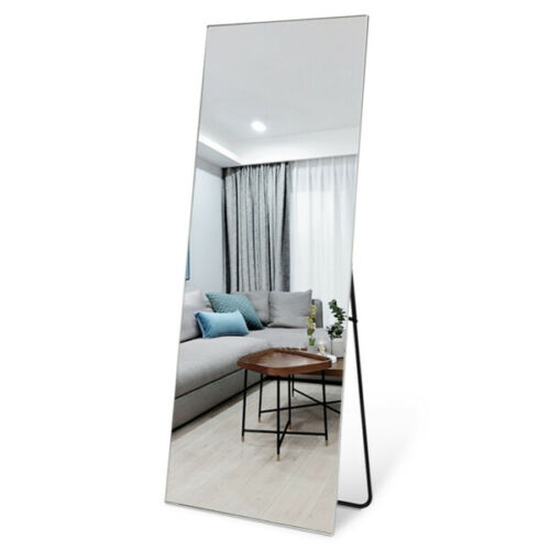Full Length Floor Mirror Body Size Standing Wall Mounted with Stand Metal Frame
