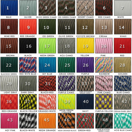 550 Parachute Cord Mil Spec Type III Paracord 7 Strand Core Rope 50/100Feet