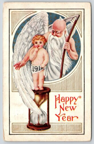 New Year~Father Time~Scythe~Baby New Year~Hourglass~Emb~Vintage Postcard