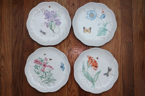 """ONE LENOX Butterfly Meadow 9"""" Lunch Salad Plate Monarch Swallowtail Dragonfly"""