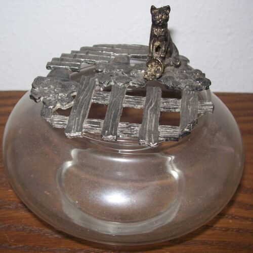 Antique Vintage Old CAT GLASS POTPOURRI JAR 5