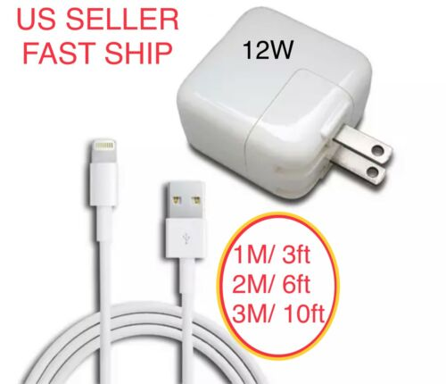12W USB Power Adapter Charger for Apple 8 7 X Pro iPad 2 3 4 Air 1M 2M 3M Cable