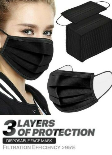 100 Pcs Black Face Mask Mouth & Nose Protector Respirator Masks with Filter