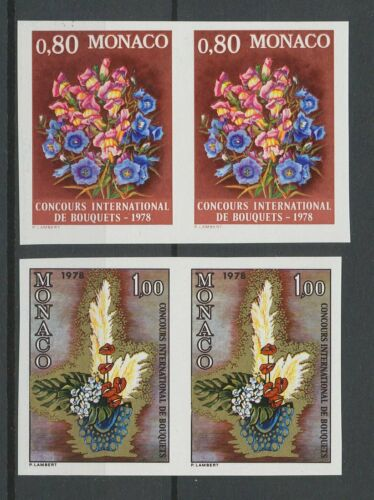 [P662] Monaco 1977 flowers good set very fine MNH stamps imperf in pairs
