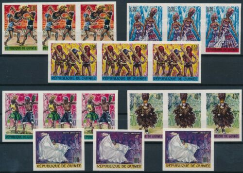 [P15154] Guinea 1966 : 3x Good Set Very Fine MNH Imperf Stamps & Airmail Stamp