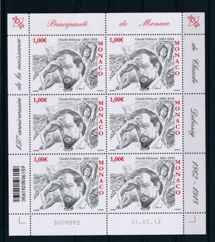 [G27886] Monaco 2012 Debussy Compositor good sheet very fine MNH