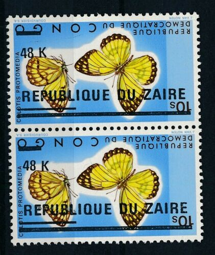 [33631] Zaire Good pair inverted overprint Very Fine MNH stamps