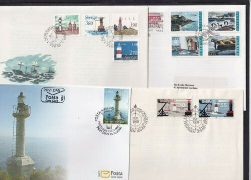 Lighthouses FDC choice of Montenegro 2019 Sweden 1969 1989 2002