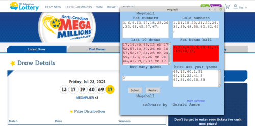 Mega Million Lottery Numbers software CD for Windows 7 & 8 & 10