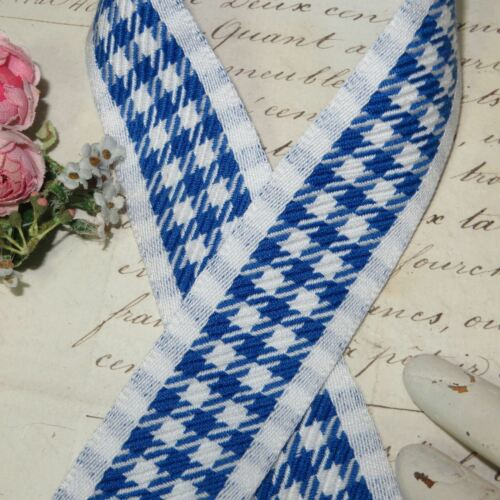 VTG FRENCH CAFE BLUE WHITE CHECK TRIM RIBBON PARIS BAKERY LINEN TOWEL GINGHAM