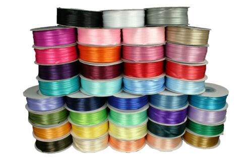 """Thin DOUBLE FACE Silky SATIN Ribbon CHOOSE Size 1/8"""" or 1/16"""", Color & Length"""