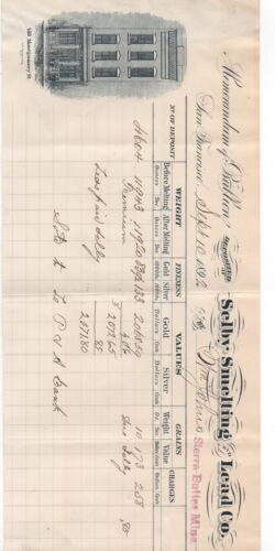1892 Bullion Deposit Receipt Selby Smelting Co San Francisco Sierra Buttes Mine