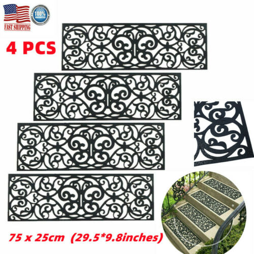 4Pcs Outdoor Rubber Stair Tread Step Mats Non Slip Floor Entryway Home Office US
