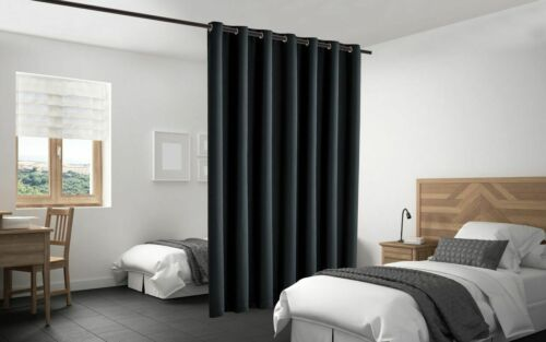 Blackout Room Divider Curtain Panel Privacy Screen Thermal Insulated Black Color