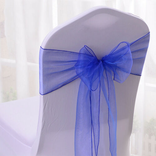 100X Organza Chair Sashes Cover Bands Chair Bow Ties Wedding Banquet Party Decor