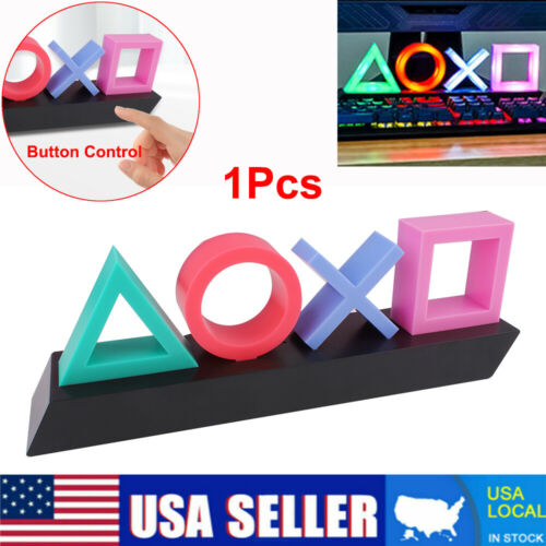 For Playstation Sign Button Control Game Icon Light Acrylic Atmosphere LED US