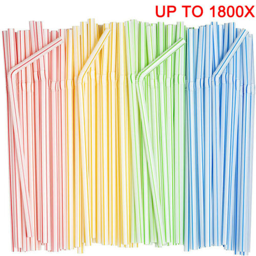 Up to 1800x Disposable Flexible Bendable Straw Plastic Drinking Drink Party Bulk