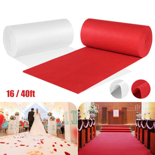 16/40FT Red/White Wedding Carpet Aisle Floor Runner f/ Banquet Party Event Decor
