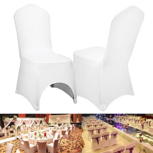 Large White Stretch Spandex Chair Covers Wedding Universal 100 Pcs Banquet Party