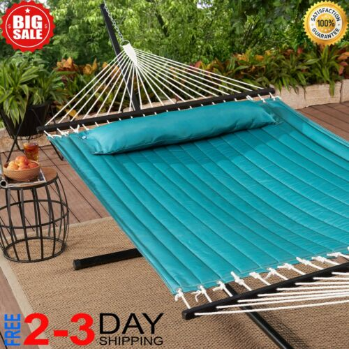 Outdoor Camping Quilted Double Hammock w/ Pillow 445 lb Capacity Heavy duty NEW