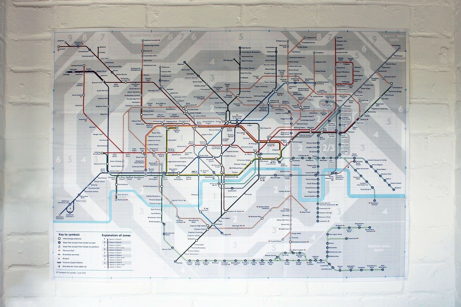 London Tube Underground Map letters of reference