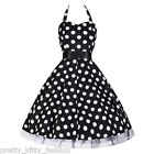 PRETTY KITTY ROCKABILLY 50s BLACK POLKA DOT SWING COCKTAIL PROM DRESS 8-26 PLUS