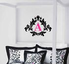 Damask with Monogram Vinyl Wall Decal Decor Lettering Custom