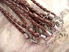 Cord Necklace Leather imit Woven Vinyl Brown 3mm, Brass Silver 3 SIZES, 6 Qty