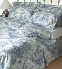 Toile De Jouy Blue Quilted Bedspread All Sizes