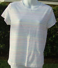 THEORY SCOTTIE STAY WHITE RAINBOW STRIPE COTTON SPANDEX EASY CARE SHIRT TOP NEW