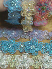 SHEER FLOWER TRIM 3D SEQUINS BEADS 1 yard