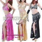 BELLY DANCE COSTUME SET 2 PC: BRA TOP + SKIRT 7 COLORS