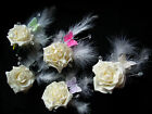 Wedding Buttonhole - Rose with feathers/beads/butterfly