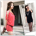 Women Korea Off Collar Strappy Mini Dress Long Top #018
