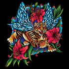 TIGERS WITH WINGS TATTOO T-SHIRT ASIAN FLOWERS WO Gildan Ultra Cotton Tee