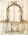 "23"" Wrought Iron Wall Bow Top Basket - Metal Garden Flower Planter"