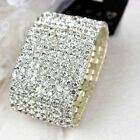 1 / 2 / 3 / 4/ 5 rows clear crystal white gold plated stretch bracelet