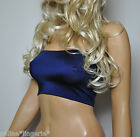 NAVY BLUE STRAPLESS BOOB TUBE BANDEAU BRA TOP CLUB CROP LYCRA GYM SPORT YOGA B45