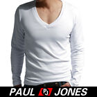 New Cotton PJ Men's Causal Long Sleeve T-Shirt V-neck Size XS S M L Black/White