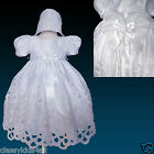 New Infant Toddler Girl White Christening Baptism Dress Gown Size (0M to 30M)